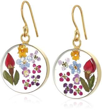 DAY Birger et Mikkelsen Amazon Collection Sterling Silver Multi-Color Pressed Flower Circle Drop Earrings
