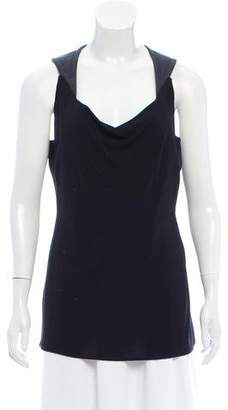 Yigal Azrouel Leather-Accented Sleeveless Top