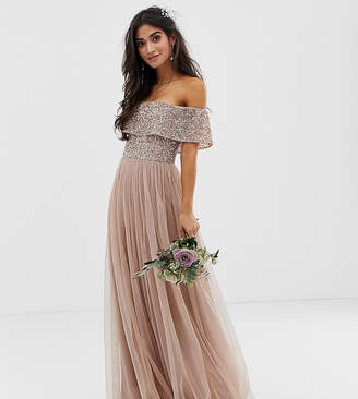 Bardot Maya Petite Bridesmaid maxi tulle dress with tonal delicate sequins in taupe blush