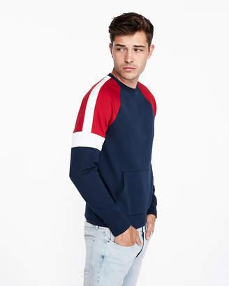 Express Color Block Fleece Crew Neck Sweatshirt