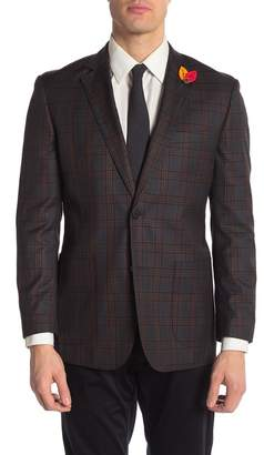 English Laundry Olive Plaid Two Button Peak Lapel Blazer