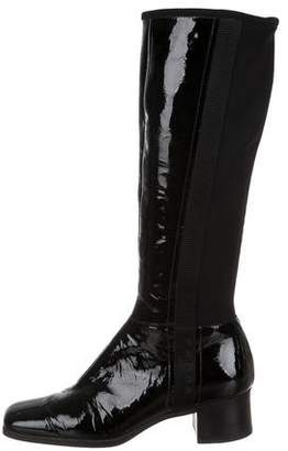 Prada Sport Patent Leather Square-Toe Knee-High Boots