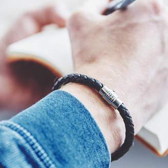 8011c1615 Hurleyburley man Men's Personalised Clasp Plaited Leather Bracelet