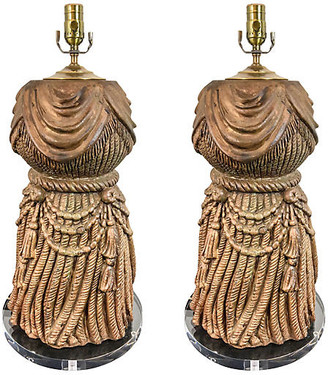 One Kings Lane Vintage Large Italian Tassel & Lucite Lamps,Pair - Von Meyer Ltd.