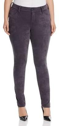 SLINK Jeans Plus SLINK Jeans Faux Suede Skinny Jeans in Charcoal