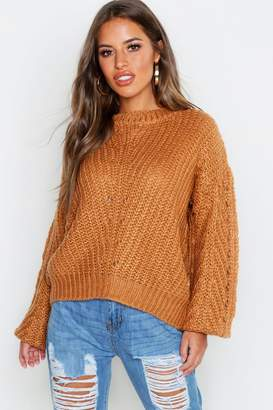 boohoo Petite Soft Knit Cable Sleeve Jumper