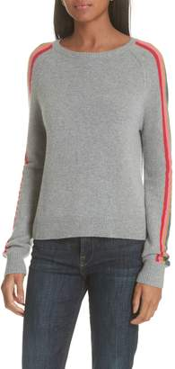 Allude Rainbow Stripe Merino Wool Blend Sweater