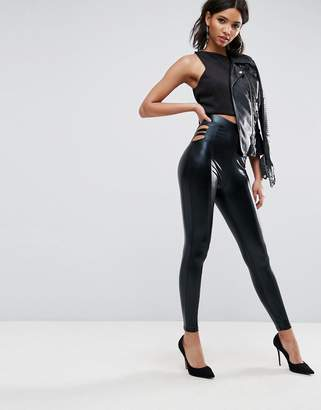 Asos Design Leggings in Wet Look with Cut Out Detail
