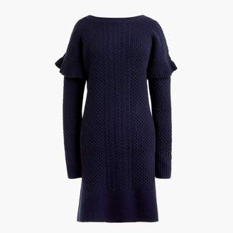 J.Crew Cable-knit ruffle-sleeve sweater-dress