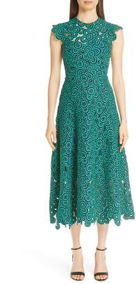 Lela Rose Crochet Circle Midi Dress
