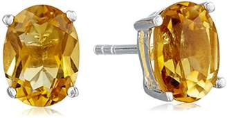 Sterling Silver Oval Madeira Citrine Stud Earrings