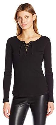 Maison Scotch Scotch & Soda Women's Lace up Ribbed Jersey Long Sleeve Tee