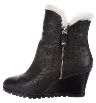 MICHAEL Michael Kors Michael Kors Leather Wedge Ankle Boots