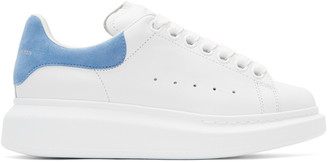Alexander McQueen White & Blue Oversized Sneakers $575 thestylecure.com