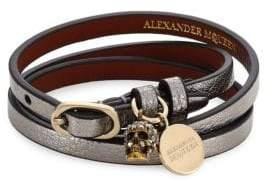 Alexander McQueen Gunmetal Leather Wrap Bracelet
