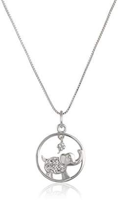 "Sterling Circle with Crystal Elephant ""Lucky"" Pendant Necklace"