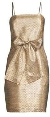 Shoshanna Women's Blanc Bow Waist Lurex Dress - Gold Lurex - Size 0