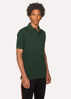 Paul Smith Men's Slim-Fit Dark Green Cotton-Pique Polo Shirt With Charm Buttons