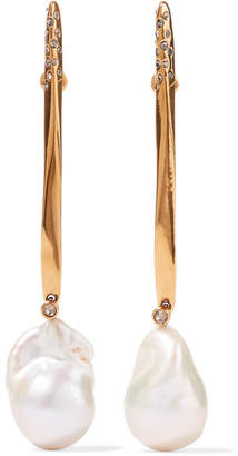 Alexander McQueen Gold-tone Pearl Earrings - White