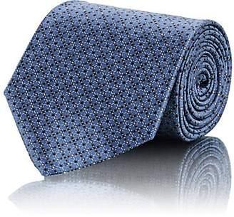 Brioni Men's Crosshatch-Dot-Print Silk Satin Necktie - Blue
