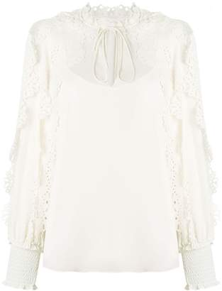 See by Chloe scalloped lace trimmed peasant blouse