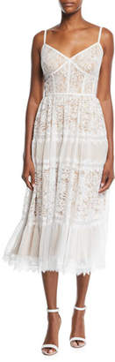 Tadashi Shoji Lace Midi Dress w/ Pleated Skirt