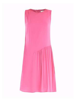 PAISIE - Shift Dress with Gathered Shoulder & Side Panel in Pink