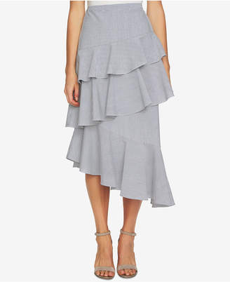 CeCe Striped Asymmetrical Ruffle Skirt
