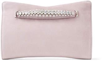 Jimmy Choo VENUS Mauve Suede Clutch Bag with Jewelled Bracelet