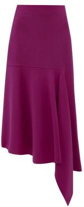 Balenciaga Asymmetric Wool Blend Midi Skirt - Womens - Fuchsia