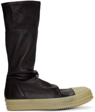Rick Owens Black Rubber Sock High-Top Sneakers