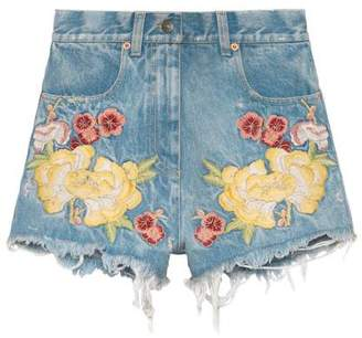 Gucci Embroidered denim short