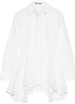 Lela Rose - Asymmetric Broderie Anglaise Cotton Blouse - White $1,295 thestylecure.com