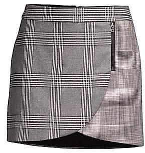 Alice + Olivia Women's Lennon Plaid Overlap Mini Skirt