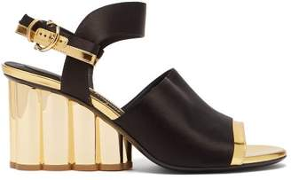 Salvatore Ferragamo Greci Column Heel Satin Sandals - Womens - Black Gold