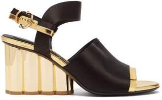 6e32f4f19626 Salvatore Ferragamo Greci Column Heel Satin Sandals - Womens - Black Gold