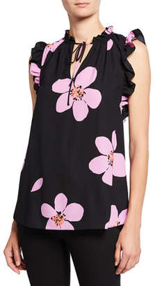 Kate Spade Grand Flora Tie-Neck Shell