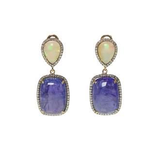 Ri Noor - Opal Tanzanite & Diamond Earrings