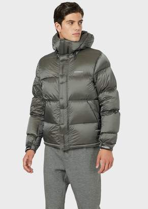 Emporio Armani Quilted Down Jacket In Shiny Nylon