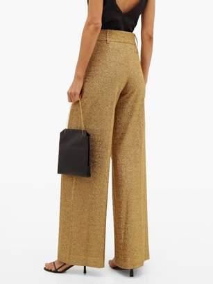 Sara Battaglia High Rise Wide Leg Lurex Trousers - Womens - Gold
