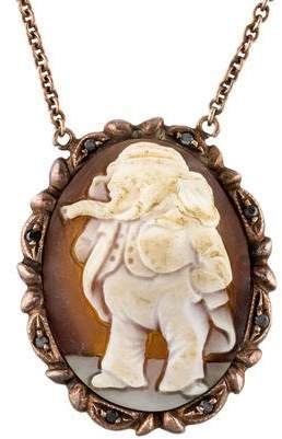 Amedeo Elephant Sardonyx Shell Cameo & Pendant Diamond Pendant Necklace