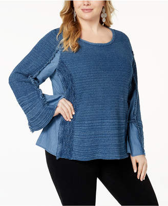 INC International Concepts I.n.c. Plus Size Chambray Knit-Trim Top, Created for Macy's