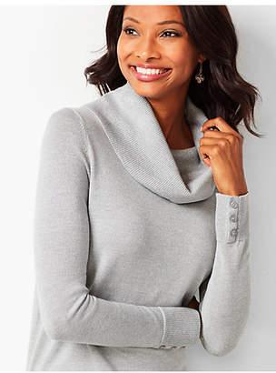 Talbots Merino Button-Cuff Cowlneck Sweater - Silver Shimmer