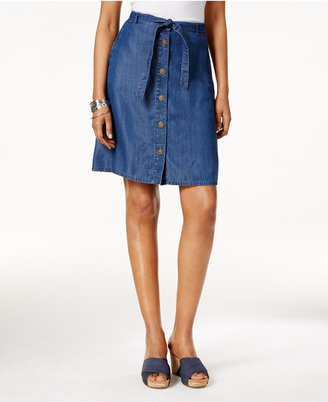 Style & Co Chambray Button-Front Skirt, Created for Macy's $49.50 thestylecure.com