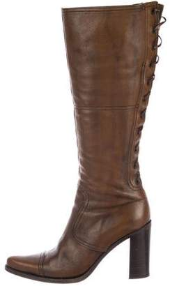 Miu Miu Leather Lace-Up Knee-High Boots