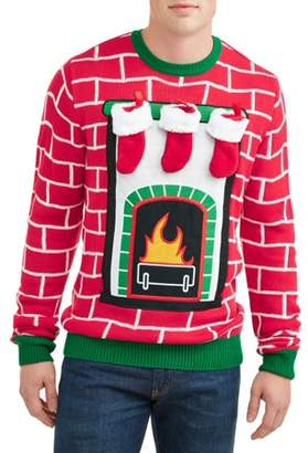 Holiday Men's Fireplace Mantel Ugly Christmas Sweater, Up to size 2XL