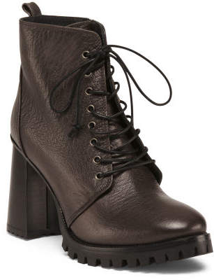 Made In Italy Lace Up Leather Booties