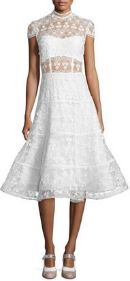 Alexis Kayla Floral Embroidered A-Line Midi Dress, White $890 thestylecure.com