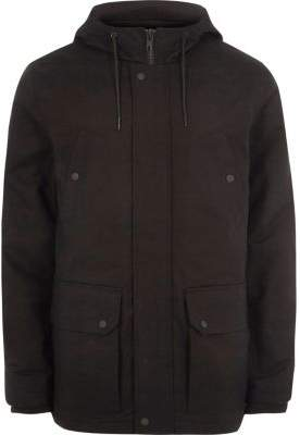 River Island Big and Tall black hooded fleece lined jacket