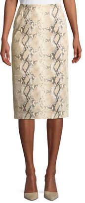 Lafayette 148 New York Casey Diamondback Snake-Print Suede Skirt